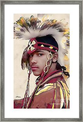 Proud Indian Boy Framed Print by Linda  Parker