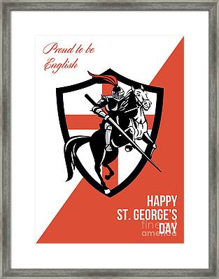 Proud To Be English Happy St George Day Retro Poster Framed Print