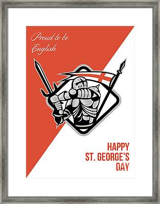 Proud To Be English Happy St George Greeting Card Framed Print