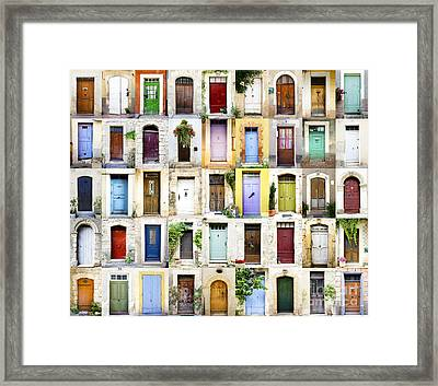 Provence Doors Collage Framed Print