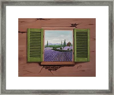 Framed Print featuring the painting Provence Lavander Fields Original Acrylic by Georgeta Blanaru