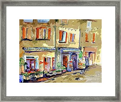 Provence Village Street Scene Framed Print by Ginette Callaway