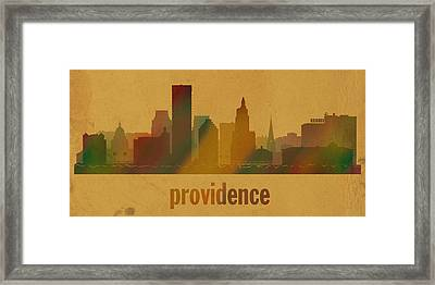 Providence Rhode Island City Skyline Watercolor On Parchment Framed Print