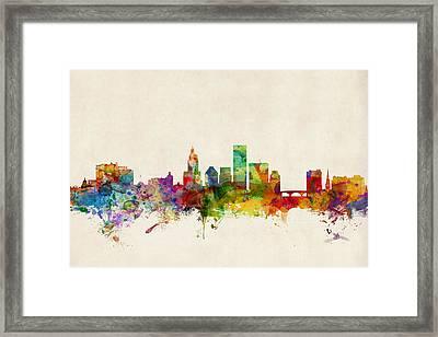 Providence Rhode Island Skyline Framed Print by Michael Tompsett