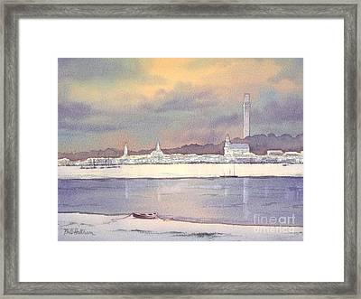Framed Print featuring the painting Provincetown Evening Lights by Bill Holkham