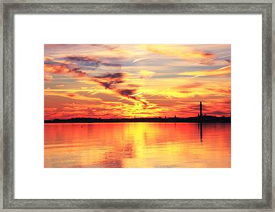 Framed Print featuring the photograph Provincetown Harbor Sunset by Roupen  Baker