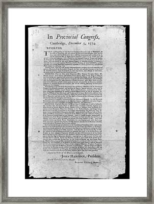Provincial Congress, 1774 Framed Print by Granger