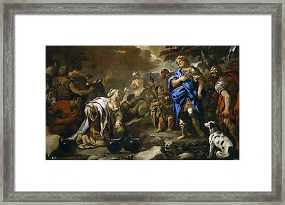Prudent Abigail Framed Print by Luca Giordano