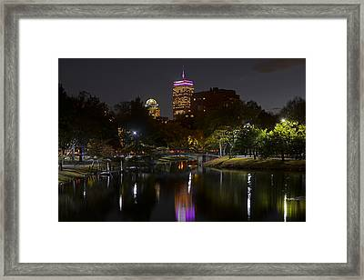 Prudential Over The Charles River Framed Print by Toby McGuire