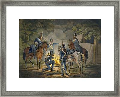 Prussian Hussars On A Night Picket Framed Print by Conrad Gessner