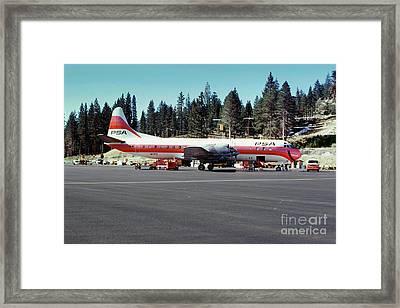 Psa Lockheed L188c Electra   N171p Cindy Lake Tahoe Airport Framed Print