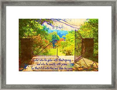 Psalm 100 4 Gate Framed Print by Michelle Greene Wheeler
