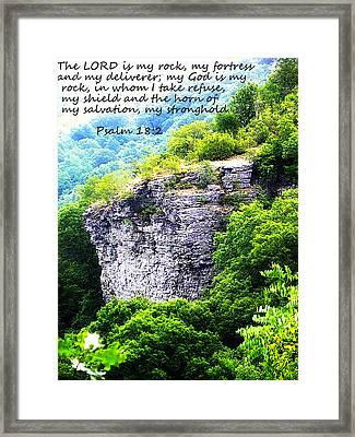 Psalm 18 2 Rock Face Framed Print
