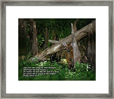 Psalm 18 32-33 Framed Print by Dawn Currie