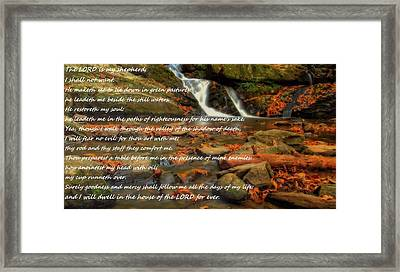 Psalm 23 Autumn Waterfall Framed Print by Dan Sproul