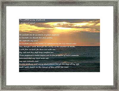 Psalm 23 Beach Sunset Framed Print by Dan Sproul