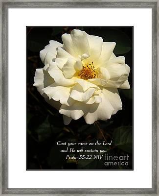 Psalm 55 22 Framed Print by Sara  Raber