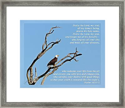 Psalm 103 1-5 Framed Print by Dawn Currie