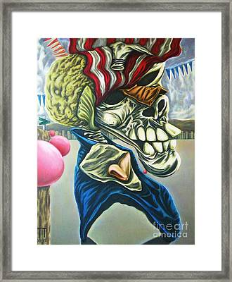 Pseudo-archaic Portrait Of An Imaginary Hometown Hero During A Slow Process Of Decomposition Framed Print by Mack Galixtar