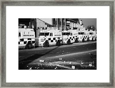 Psni Armoured Land Rovers And Debris On Crumlin Road At Ardoyne Shops Belfast 12th July Framed Print