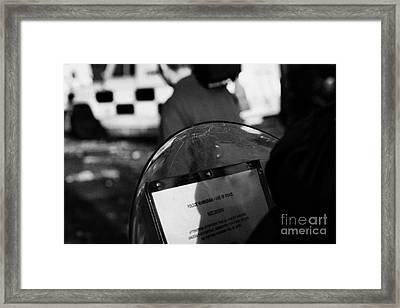 Psni Baton Round Warning On Shield During Riot On Crumlin Road At Ardoyne Shops Belfast 12th July Framed Print by Joe Fox