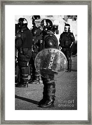 Psni Officer In Full Riot Gear With Shield On Crumlin Road At Ardoyne Shops Belfast 12th July Framed Print