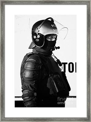 Psni Officer In Ninja Riot Geat On Crumlin Road At Ardoyne Shops Belfast 12th July Framed Print