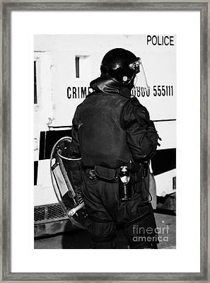 Psni Officer With Riot Gear On Crumlin Road At Ardoyne Shops Belfast 12th July Framed Print