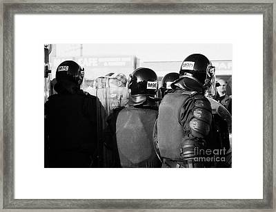 Psni Officers In Riot Gear With Crowd On Crumlin Road At Ardoyne Shops Belfast 12th July Framed Print