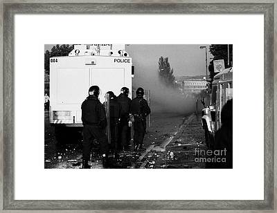 Psni Riot Officers Behind Water Canon During Rioting On Crumlin Road At Ardoyne Shops Belfast 12th J Framed Print