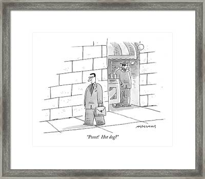 Psssst!  Hot Dog? Framed Print by Mick Stevens