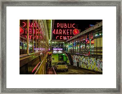 Psychadelic Midnight Colors At Pike Place Market Framed Print by Brian Xavier
