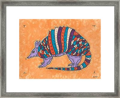 Psychedelic Armadillo Framed Print by Susie Weber