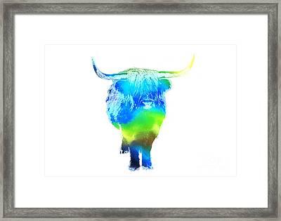 Psychedelic Bovine #2 Framed Print by Pixel  Chimp