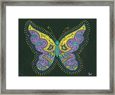Psychedelic Butterfly Framed Print by Susie Weber