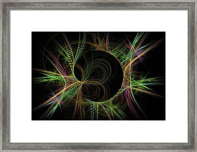 Psychedelic Digital Image - Green Pink Black - Modern Art Framed Print by Keith Webber Jr