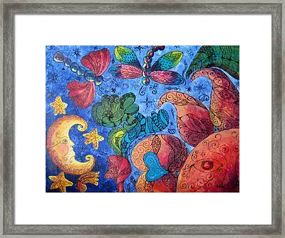 Psychedelic Dreamscape Framed Print by Megan Walsh