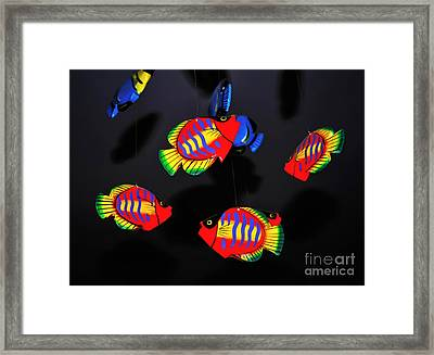 Psychedelic Flying Fish Framed Print by Kaye Menner