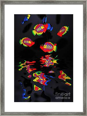 Psychedelic Flying Fish With Psychedelic Reflections Framed Print by Kaye Menner