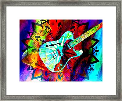 Psychedelic Guitar Framed Print by Ally  White