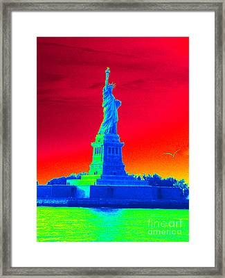 Psychedelic Liberty Framed Print by Avis  Noelle