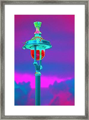 Psychedelic London Streetlight Framed Print by Richard Henne