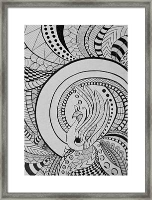 Psychedelic Peacock - Zentangle Drawing - Ai P.nilson Framed Print