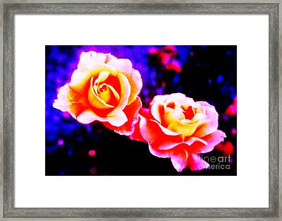 Psychedelic Roses Framed Print by Martin Howard