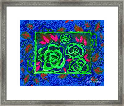 Psychedelic Roses - Winter Framed Print