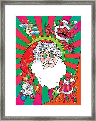 Psychedelic Santa Face Framed Print