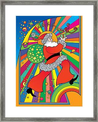 Psychedelic Santa Framed Print