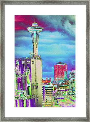 Psychedelic Seattle Framed Print by Richard Henne