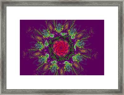 Psychedelic Spiral Vortex Purple Green And Pink Fractal Flame Framed Print