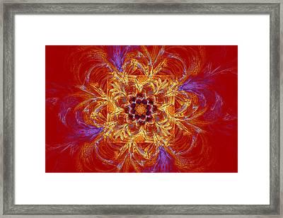 Psychedelic Spiral Vortex Red Orange And Blue Fractal Flame Framed Print by Keith Webber Jr